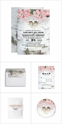 Country Rustic Birch Tree Bark Wedding Collection