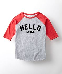 Look at this Heather Gray & Red 'Hello Ladies' Tee - Toddler & Boys on #zulily today!