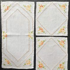 Vintage Orange Floral Embroidered Linen Set - Napkins and Runner – In The Vintage Kitchen Shop Chain Stitch, Cross Stitch, Straight Stitch, Breakfast In Bed, Hexagon Shape, Spring Green, Embroidered Flowers, Embroidery Stitches, Simple Designs
