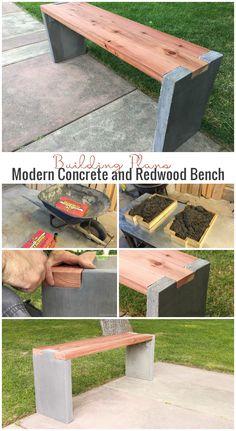 DIY Modern Concrete and Redwood Bench building plans @Remodelaholic.com
