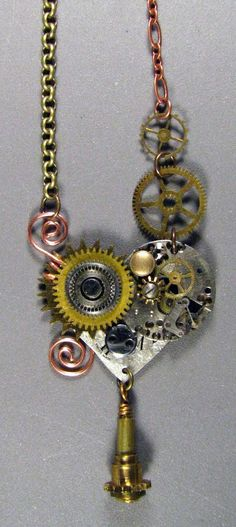 The Sum Of All Crafts.  Great blog.  This and her other steampunk jewelry is sold in a store in Northville, MI.  Pinned this for inspiration