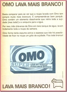 Detergente Omo. Vintage Advertising Posters, Old Advertisements, Vintage Ads, Vintage Posters, Vintage Photos, Nostalgia, E Book, Old Computers, Poster Ads