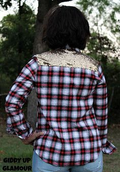 Fall Fashion Necessity - What More Do You Need Red and Black Plaid Flannel Long Sleeve with Gold Sequin Pocket and Yoke