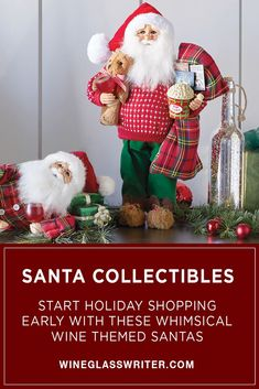 Celebrate the holidays with our playful Santa collectible wine themed dolls from Karen Didion! #holidaydecor #christmasdecor #christmasdecorations #santa #santaclaus #winedecor Christmas Wreaths, Christmas Decorations, Christmas Ornaments, Holiday Decor, Wine Decor, Tablescapes, Whimsical, Santa, Entertaining