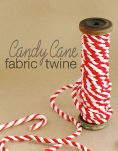 The other day at the supermarket I noticed how similar the candy canes looked to my Handmade Scrap Fabric Twine, especially the sections with contrasting dark and white fabric. So in the spirit of all things Christmassy, I decided to make some red and white fabric twine to look just like candy canes. It's perfect for adding a handmade touch...