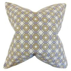 """Lend a pop of style to your sofa or arm chair with this delightful cotton pillow, showcasing a geometric trellis motif in taupe, white, and purple.  Product: PillowConstruction Material: Cotton cover and 95/5 feather-down fillColor: Taupe, white and purpleFeatures:  Insert includedHidden zipper closureMade in the USA Dimensions: 18"""" x 18""""Cleaning and Care: Spot clean"""