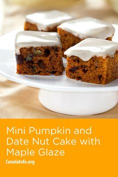 These bite-sized cakes explode with fall ingredients like cinnamon, nutmeg, maple syrup and pumpkin. Pumpkin Recipes, Fall Recipes, Maple Glaze, Maple Syrup, Date Cake, Mini Pumpkins, Pumpkin Puree, Cake Pans, No Bake Cake