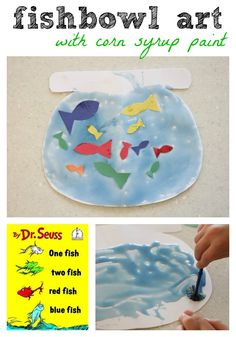 """One Fish Two Fish Red Fish Blue Fish"" by Dr. Seuss (with corn syrup paint) for Older kids, have them write one fish two fish red fish blue fish with black crayon, then paint and add the correct fish Dr. Seuss, Dr Seuss Week, Red Fish Blue Fish, One Fish Two Fish, Fish Fish, Betta Fish, Fish Activities, Activities For Kids, Classroom Crafts"