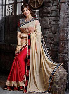 Ayesha Takia Cream and Red Faux Chiffon Zari Work Designer Saree