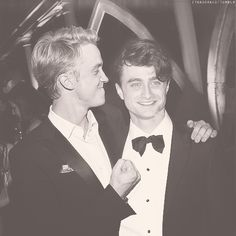 Tom Felton: I'm going to punch so hard-- Daniel Radcliffe: wait until my farther hears about this. Tom: *puts his hand down* hey that's my line! (Came up with it myself! Wouldn't Mrs. Weasley be proud of how smart I am?)