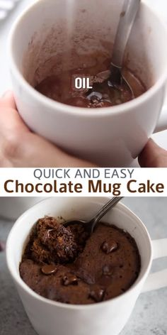 This microwave Chocolate Mug Cake will become your new obsession; it's the easiest and fastest way to make dessert for one or two, and you wont believe how delicious it is! This mug cake recipe is made with chocolate chips and no eggs. Microwave Mug Recipes, Fun Baking Recipes, Sweet Recipes, Brownie In A Mug Recipe Microwave, Easy Microwave Desserts, Mug Brownie Recipes, Microwave Cookies, Microwave Baking, Microwave Eggs