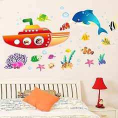 $8.60  - Wallpark Underwater World Submarine Sightseeing Cute Dolphin Sea Fish Removable Wall Sticker Decal Children Kids Baby Home Room Nursery DIY Decorative Adhesive Art Wall Mural -- Be sure to check out this awesome product. (This is an affiliate link)