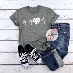 Volleyball Heartbeat - Volleyball Shirt - More color Options Available - Adult Sizes XS-3XL Cute Volleyball Shirts, Volleyball T-shirts, Volleyball Shirt Designs, Volleyball Outfits, Sports Shirts, Volleyball Crafts, Volleyball Quotes, Girls Basketball, Girls Softball