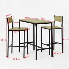 SoBuy Bar Table and 2 Stools Restaurant Kitchen Furniture Dining Set, We would want, I think, two sets of bar tables & chairs for PCCs to work on resumes etc. with students Welded Furniture, Iron Furniture, Steel Furniture, Cheap Furniture, Home Furniture, Furniture Websites, Inexpensive Furniture, Furniture Stores, Furniture Ideas