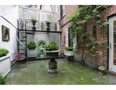 Garden of a 1809 Federal townhouse in Boston designed by Jeremiah Gardner