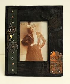 Steampunk 8 x 10  frame embellished with by Twistedcopperforest, $55.00-inspiration for Nook or other e-reader cover.