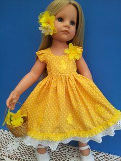 Easter Yellow Polka Dot Dress with Chicks,  Daffodils & Easter Basket