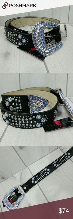 "Wildfire Belt Hair On Leather Baby Blue Clear Gems Stunning Western belt by Wildfire. Genuine leather. NO missing gems. (Artificial gems, not precious). Measures 33.5"" to first hole and adjust to smaller size with last hole being at 31"". 1.5"" wide. Buckle is 3.5"" x 3-1/4"". New with tag. Wildfire Accessories Belts"
