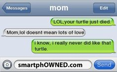 This is what my mom would have text my sister ab her turtle back in hs (if we text were available at the time)
