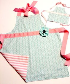 girl doll apron set matching aprons American girl apron aprons for girls matching aqua and pink apron set for girls and 18 inch dolls (27.00 USD) by LittleSaraSews