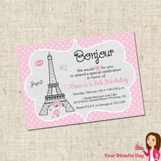 PRINTABLE Paris Party Invitation by yourblissfulday on Etsy, $10.00