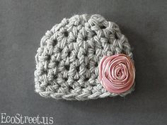 Baby Girl Hat, Newborn Crochet Hat in Gray with Pink Flower , Great for Photo Prop on Etsy, $29.00
