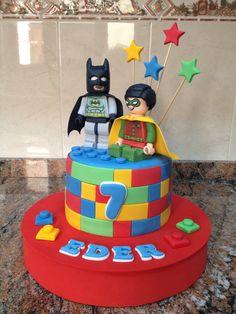 Tarta lego Batman y Robin.
