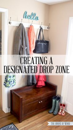 Corral coatroom clutter by creating a quick and easy designated drop zone in lieu of a mudroom or hall closet.
