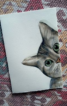 ...cucù settete!!! Gatto in acquerello e matita