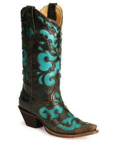 Corral Turquoise Inlay Western Boots