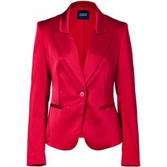 STEFFEN SCHRAUT Red Stretch Satin Blazer ($283) ❤ liked on Polyvore