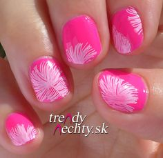 neon manicure, pink nails, nail art