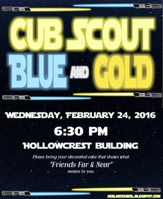 Star Wars * Blue & Gold Banquet - Cub Scout Pack Meeting Invitation