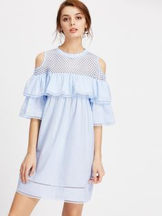SheIn offers Layered Frill Trim Crochet Insert Mesh Yoke Dress & more to fit your fashionable needs. Teen Fashion Outfits, Outfits For Teens, Kids Fashion, Fashion Dresses, Tunic Pattern, Abaya Fashion, Sweet Dress, Blouse Styles, Dress P