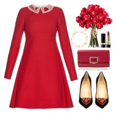 """""""Hot Red Dress"""" by captainsolo ❤ liked on Polyvore featuring SOPHIE by SOPHIE, Valentino, Christian Louboutin, Roger Vivier, Dolce&Gabbana and reddress"""