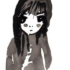 Portrait-encre de chine-noir et blanc-enfant-fillette