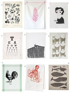 Designové ilustrované kuchyňské utěrky / Illustrated tea towels #teatowel