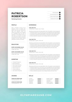 Showcase your skills and experience in a professional and effective way with a modern resume design. The resume template Patricia is optimized for building a resume that is informative, visually attractive and easy to navigate. Includes resume, cover letter and references templates, extra social media and contact icons, and a detailed user guide. #resume #resumetemplate #resumedesign #cv #cvtemplate #cvdesign #job #jobsearch #career #careeradvice One Page Resume Template, Modern Resume Template, Creative Resume Templates, Cover Letter For Resume, Cover Letter Template, Letter Templates, Cv Words, Resume References, Microsoft Word 2007
