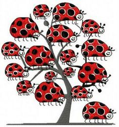 Ladybug tree machine embroidery design. Machine embroidery design. www.embroideres.com
