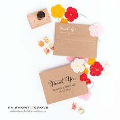 Thank You Stamp Custom Wedding Stamp by fairmontandgrove on Etsy