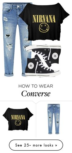 """Nirvana"" by lalalasprinkles on Polyvore featuring moda e Converse"