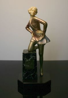 A German art deco spelter and ivorine (imitation ivory) figure 1930s.