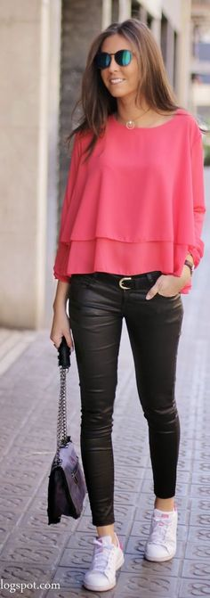 Coral Red And Black Outfit Idea by BCN Fashionista