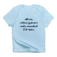 needed 24bit infant t-shirt [says: all my video games only needed 24-bits] *perfect for neo-geo fans!* > $14.99US > babybitbyte (cafepress.com/babybitbyte) #babybitbyte #cafepress #nerd #geek #gamer #retro #24bit #pixel #24bits #neogeo #100megashock #gigapower #snk #playmore #max330 #max330megaprogearspec #retrogamer