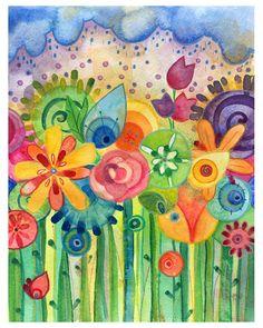 rainbow of flowers