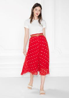 & Other Stories image 3 of Pleated Skirt in Red Dot Print