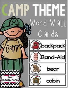 This FREEBIE includes 28 camping theme word cards! They are the perfect size for a pocket chart or on a ring in a center.If you love this item make sure to check out my Camp Learn-a-Lot bundle in my store! Camp Learn-A-Lot Preschool Art, Preschool Classroom, Classroom Themes, Preschool Activities, Kindergarten, Preschool Learning, Camping Crafts, Camping Activities, Camping Ideas