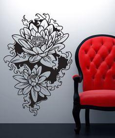 Wall Decal Lotus Flower Om Namaste Symbol Hand Vinyl Sticker - Zen wall decalsvinyl wall decal yin yang yoga zen meditation bedroom decor