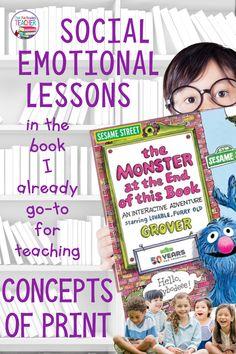 Kindergarten Lesson Plans, Kindergarten Literacy, Early Literacy, Reading Intervention Strategies, Reading Resources, Classroom Resources, Classroom Ideas, Concepts Of Print, Sesame Street Books