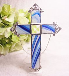 NEW Cobalt Swirl Cross by MoreThanColors on Etsy, $25.00